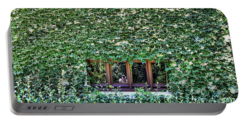 Cactus Portable Battery Charger featuring the photograph Green Ivy Window by Chuck Kuhn