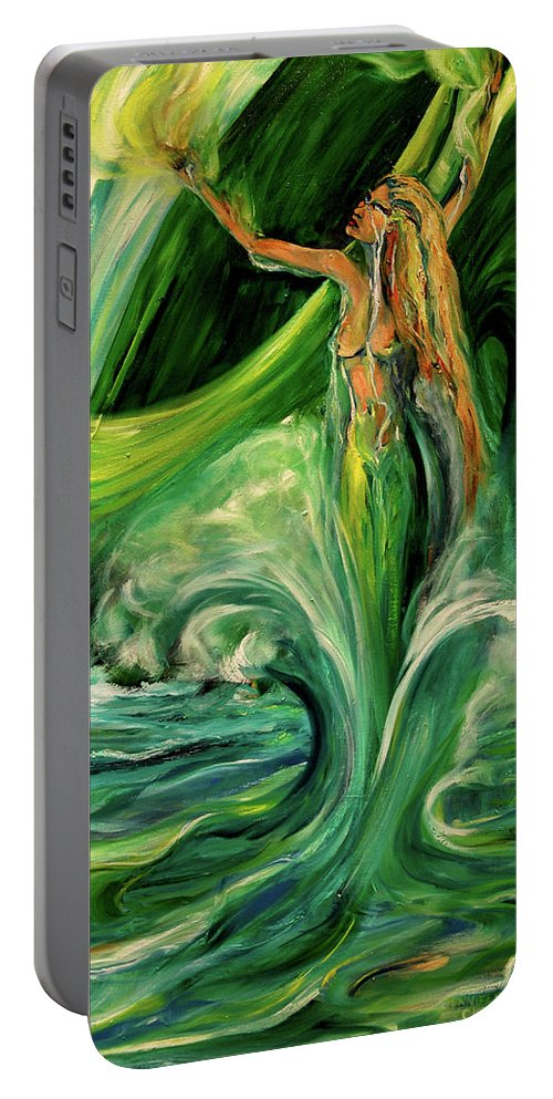 Mermaid Portable Battery Charger featuring the painting Green Jaedunn by Jennifer Christenson