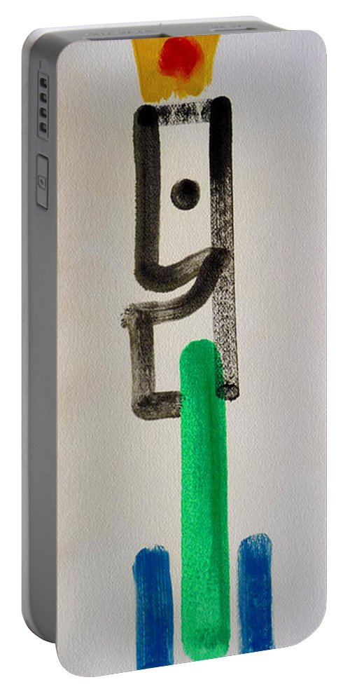 King Portable Battery Charger featuring the painting Green King by Charles Stuart