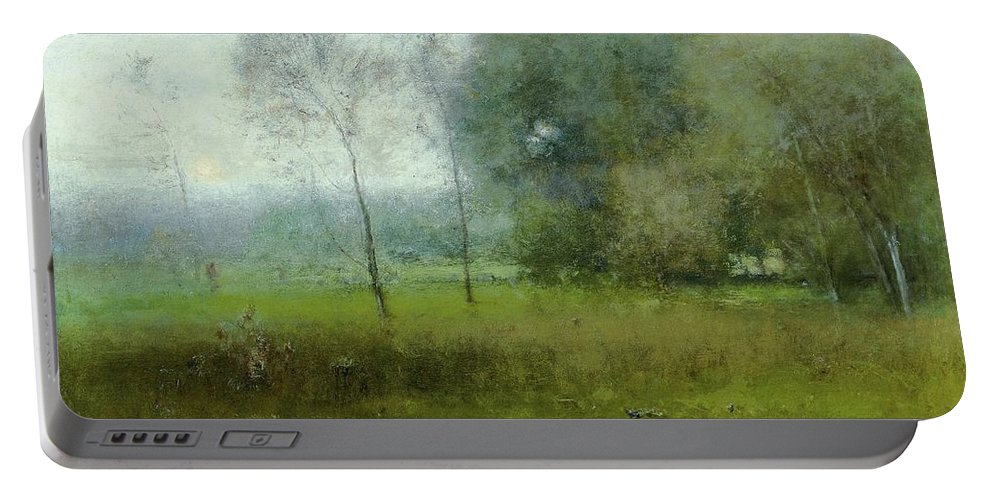 George Inness Portable Battery Charger featuring the painting Green Landscape by George Inness