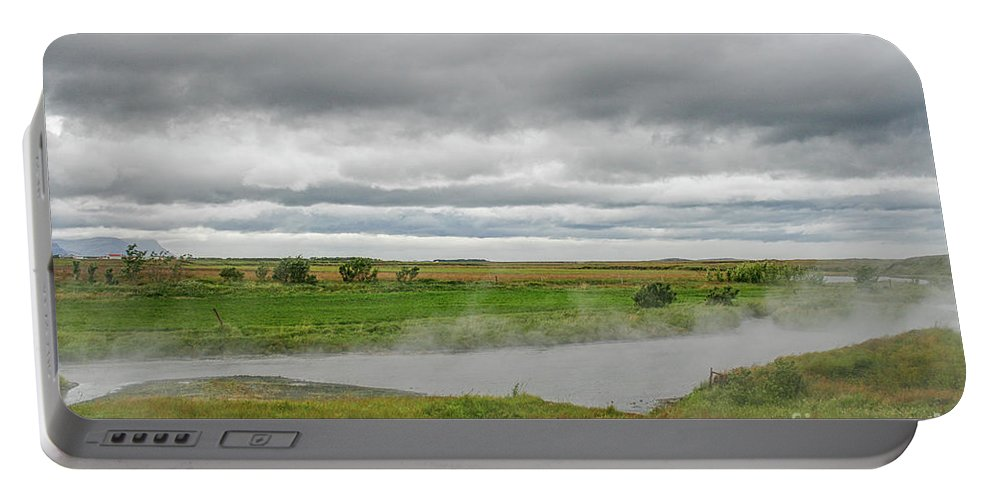 Activity Portable Battery Charger featuring the photograph Green Landscape With Steamy River by Patricia Hofmeester