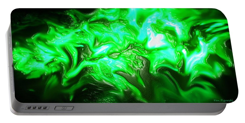 Abstract Portable Battery Charger featuring the digital art Green Lantern by Ken Figurski