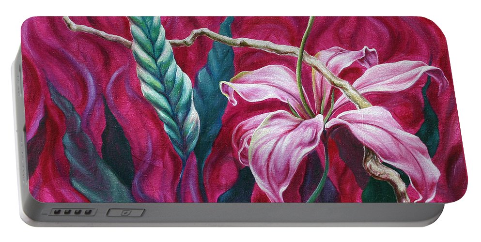 Portable Battery Charger featuring the painting Green Leaf by Jennifer McDuffie