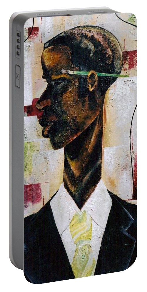 Green Portable Battery Charger featuring the painting Green Light Green Stripe by Hasaan Kirkland