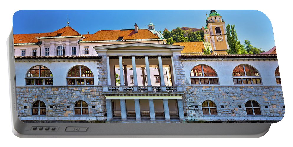 Capital Portable Battery Charger featuring the photograph Green Ljubljanica Riverfront In Ljubljana by Brch Photography