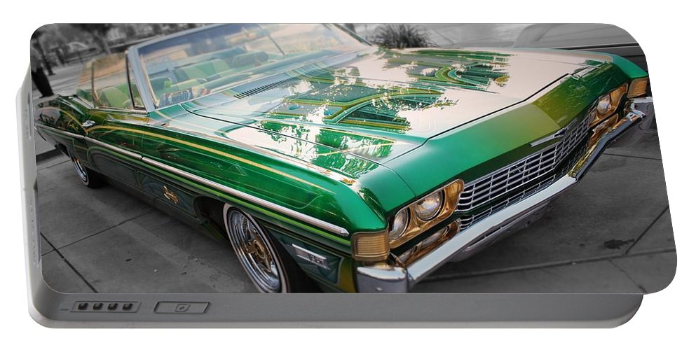 Low Rider Portable Battery Charger featuring the photograph Green Low Rider by Jesse Sanchez