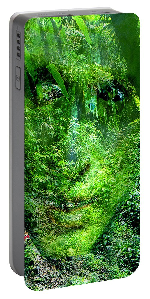 Nature Portable Battery Charger featuring the digital art Green Man by Seth Weaver