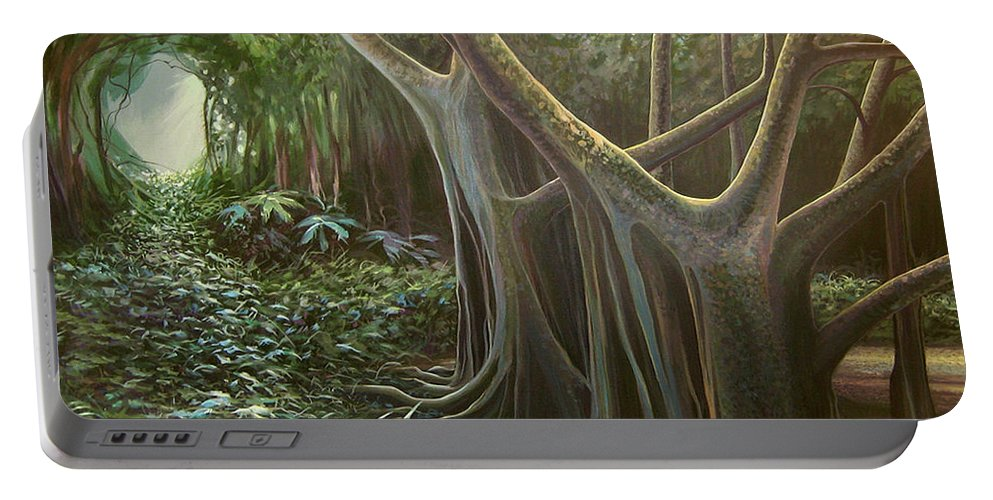 Barbados Portable Battery Charger featuring the painting Green Mansions by Hunter Jay