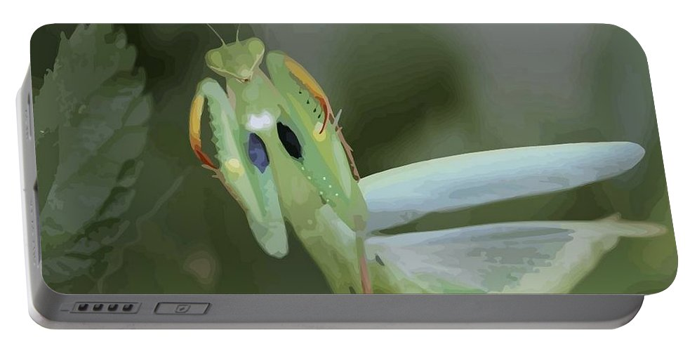 Mantid Portable Battery Charger featuring the photograph Green Mantis With Garden Background Vector by Taiche Acrylic Art