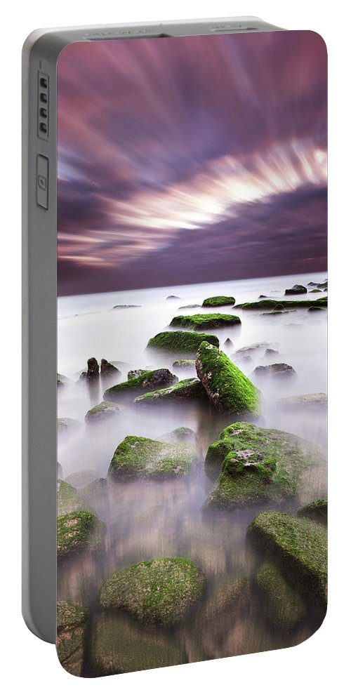 Beach Portable Battery Charger featuring the photograph Green Motion by Jorge Maia
