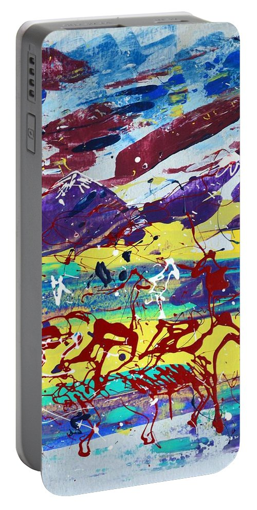 Horses Grazing Portable Battery Charger featuring the painting Green Pastures And Purple Mountains by J R Seymour