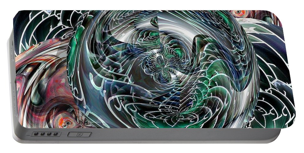 Green Portable Battery Charger featuring the digital art Green Planet by Ron Bissett