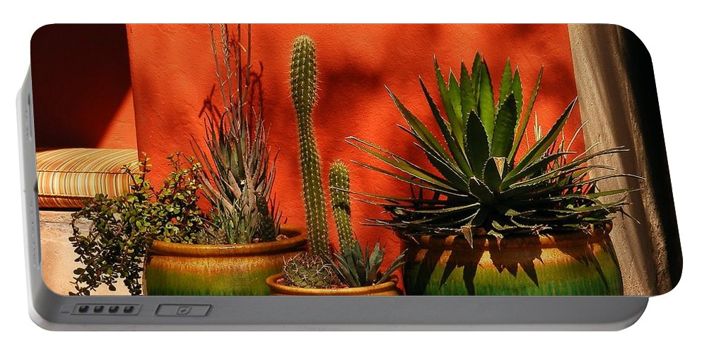 Flowers Portable Battery Charger featuring the photograph Green Pots by Marilyn Smith