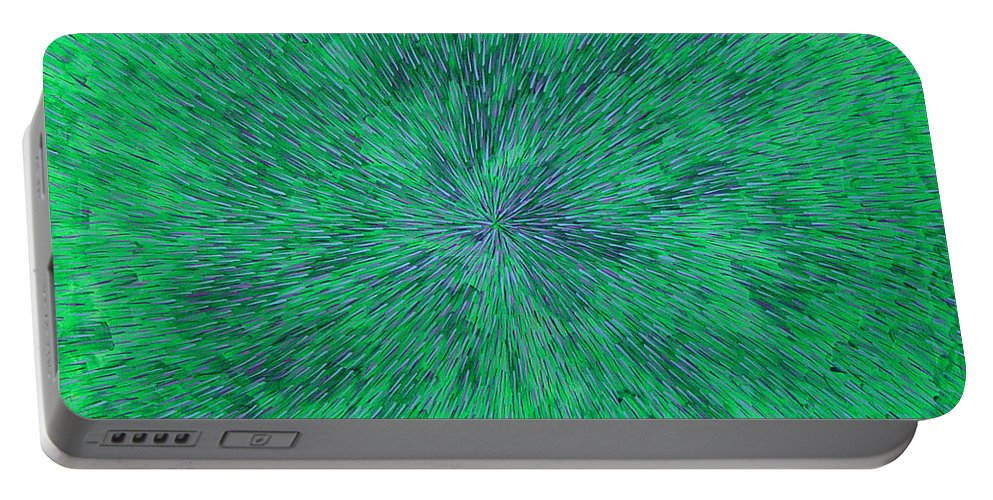 Abstract Portable Battery Charger featuring the painting Green Radation With Violet by Dean Triolo