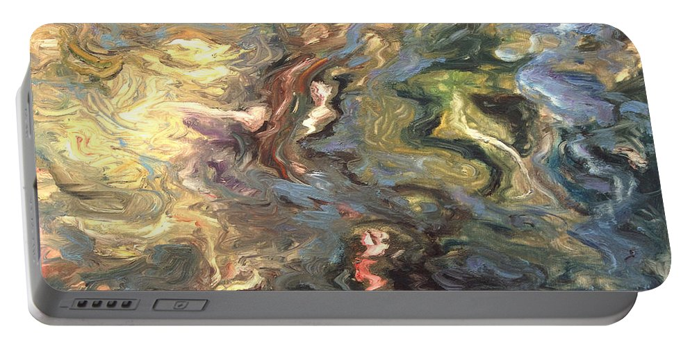 Green Portable Battery Charger featuring the painting Green by Rick Nederlof