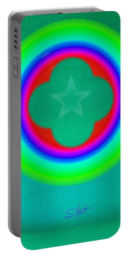 Abstract Portable Battery Charger featuring the painting Green See by Charles Stuart