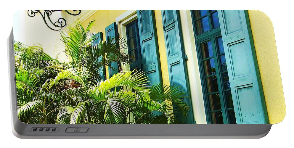 Architecture Portable Battery Charger featuring the photograph Green Shutters by Debbi Granruth