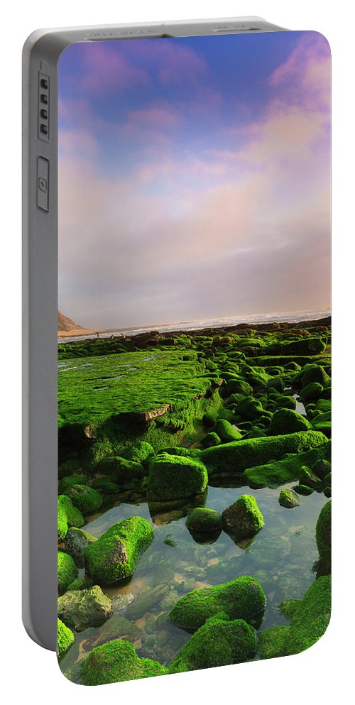 Beach Portable Battery Charger featuring the photograph Green Soul Of The Cliff by Edgar Laureano