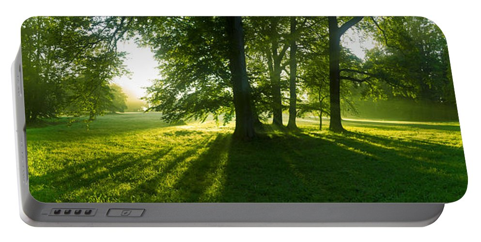 Landscape Park Portable Battery Charger featuring the photograph Green Sunrise by Sun Travels