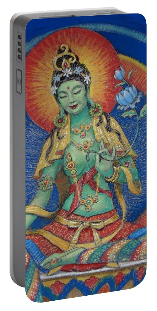 Green Tara Portable Battery Charger featuring the painting Green Tara by Sue Halstenberg