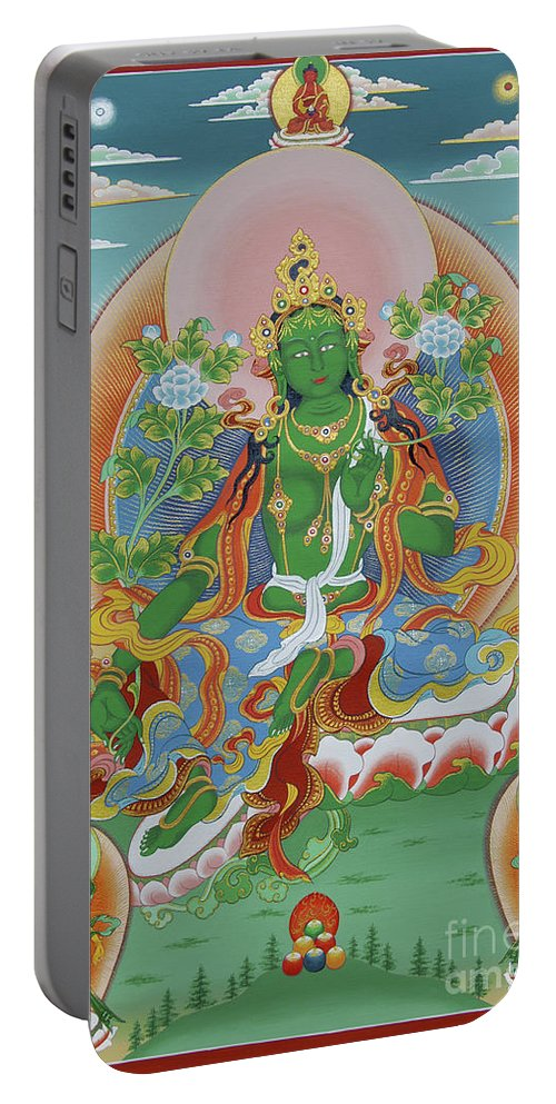 Thangka Portable Battery Charger featuring the painting Green Tara With Retinue by Sergey Noskov
