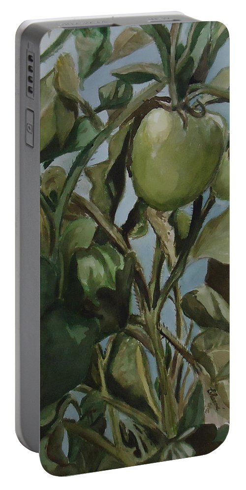 Green Tomatoes On The Vine. Decorative Portable Battery Charger featuring the painting Green Tomatoes On The Vine by Charme Curtin