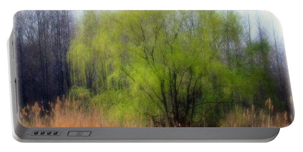 Scenic Art Portable Battery Charger featuring the photograph Green Tree by Linda Sannuti