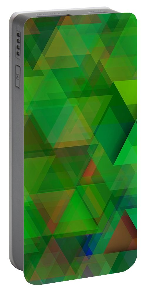 Digital Portable Battery Charger featuring the digital art Green Triangles Over Green Mist by Alberto RuiZ