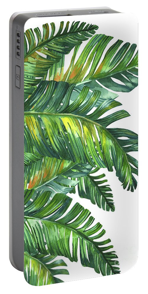 Summer Portable Battery Charger featuring the digital art Green Tropic by Mark Ashkenazi