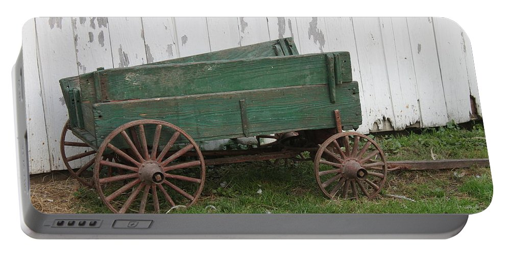 Green Wagon Portable Battery Charger featuring the photograph Green Wagon by Lauri Novak