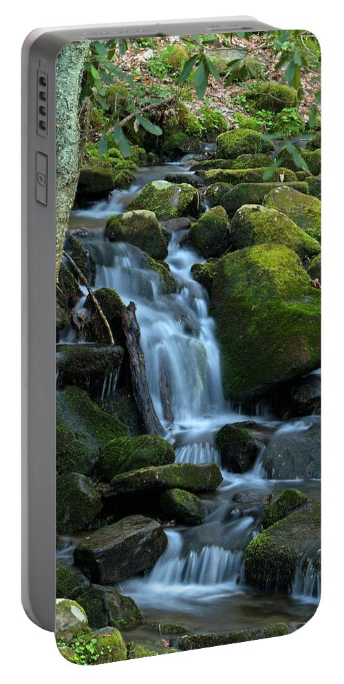 Ann Keisling Portable Battery Charger featuring the photograph Green Waterfall by Ann Keisling