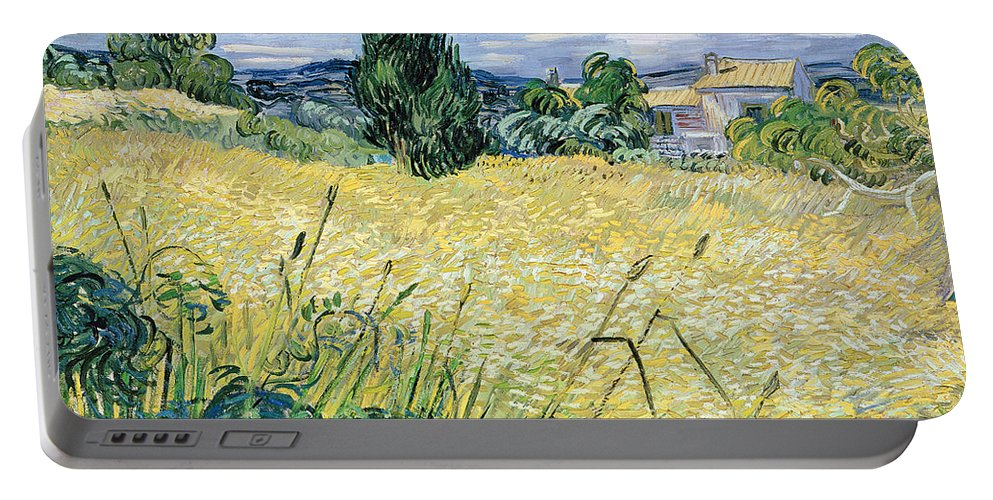 Vincent Van Gogh Portable Battery Charger featuring the painting Green Wheatfield With Cypress by Vincent van Gogh