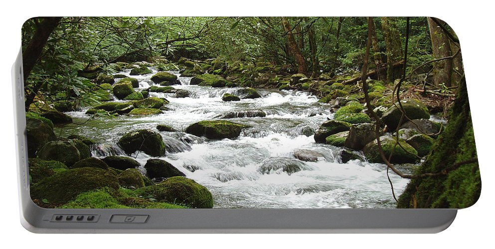 Smoky Mountains Portable Battery Charger featuring the photograph Greenbrier River Scene 2 by Nancy Mueller