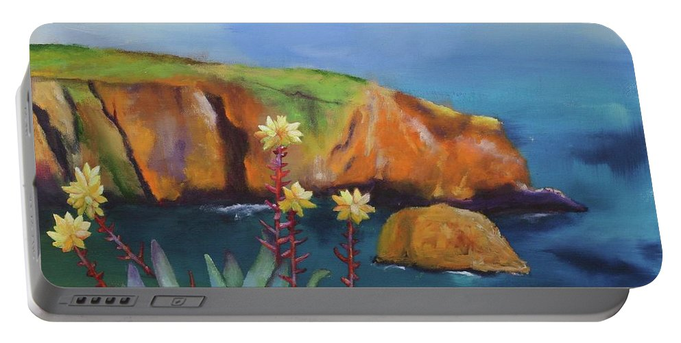 Landscape Portable Battery Charger featuring the painting Greene's Live-forever On Santa Cruz Island by Stacey Best