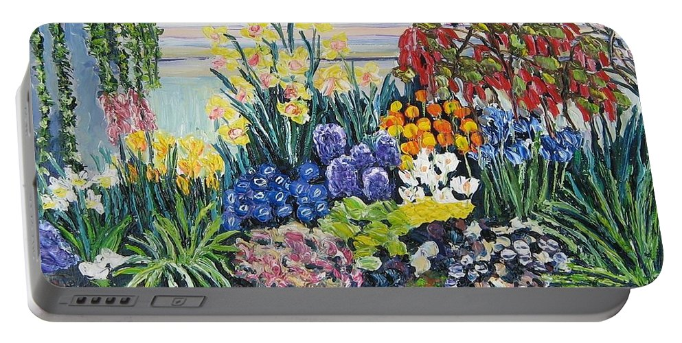 Flowers Portable Battery Charger featuring the painting Greenhouse Flowers With Blue And Red by Richard Nowak
