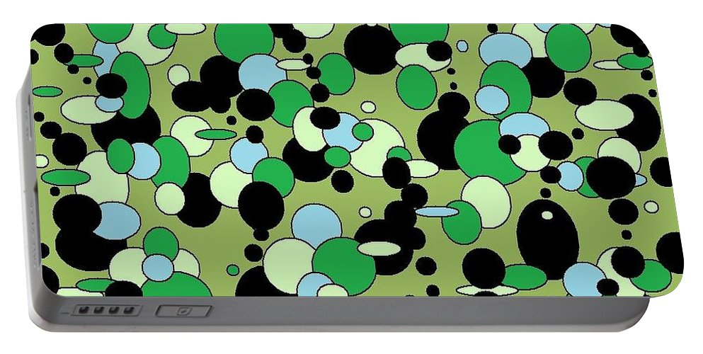 Portable Battery Charger featuring the digital art Greenies by Jordana Sands