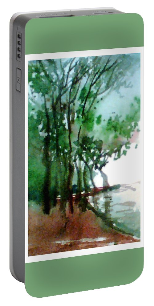 Water Color Portable Battery Charger featuring the painting Greens by Anil Nene