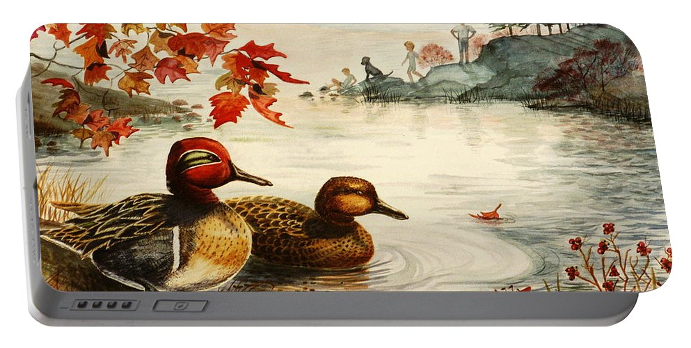 Ducks Portable Battery Charger featuring the painting Greenwinged Teal Ducks by Marilyn Smith