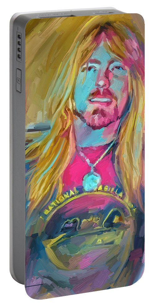 Gregg Allman Music Portrait Musician Rock Portable Battery Charger featuring the digital art Gregg by Scott Waters