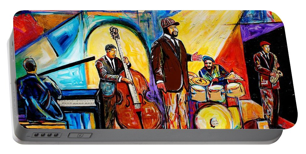 Birmingham Portable Battery Charger featuring the painting The Gregory Porter Band by Everett Spruill