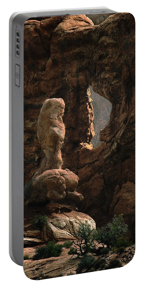 Desert Portable Battery Charger featuring the photograph Gremlin At The Window by John Christopher