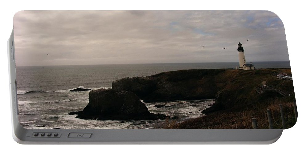 Lighthouses Portable Battery Charger featuring the photograph Grey Day by Marilyn Smith