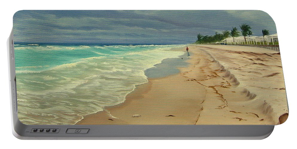 Beach Portable Battery Charger featuring the painting Grey Day On The Beach by Lea Novak