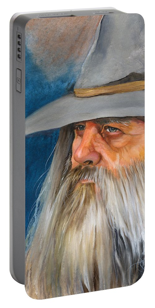 Wizard Portable Battery Charger featuring the painting Grey Days by J W Baker