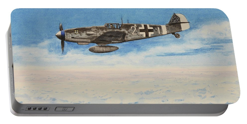 Luftwaffe Portable Battery Charger featuring the painting Grey In Blue by Oleg Konin