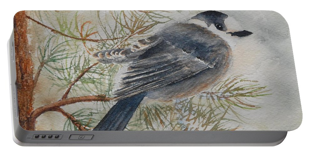 Bird Portable Battery Charger featuring the painting Grey Jay by Ruth Kamenev