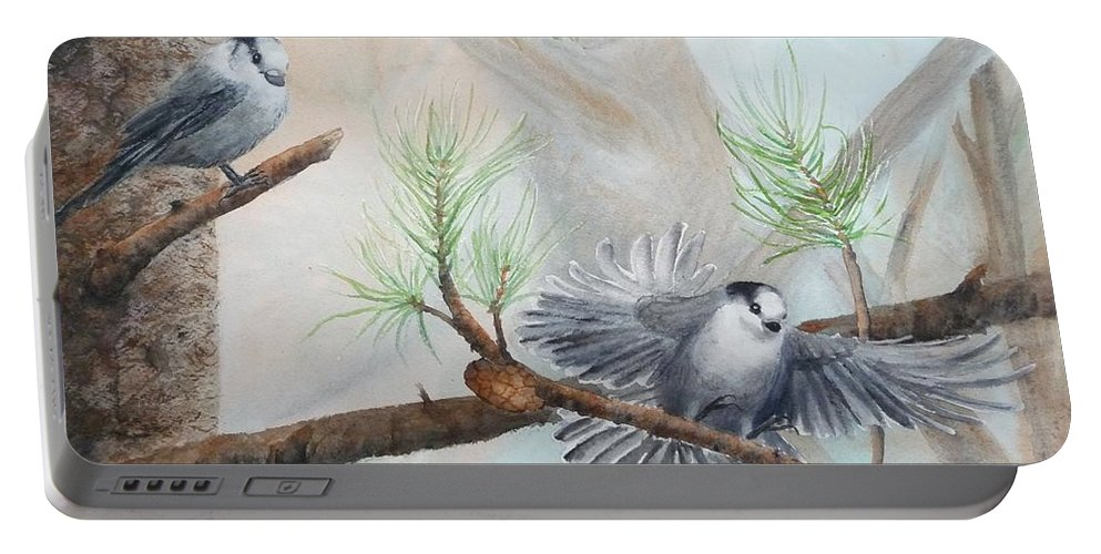 Grey Jay Portable Battery Charger featuring the painting Grey Jays In A Jack Pine by Ruth Kamenev