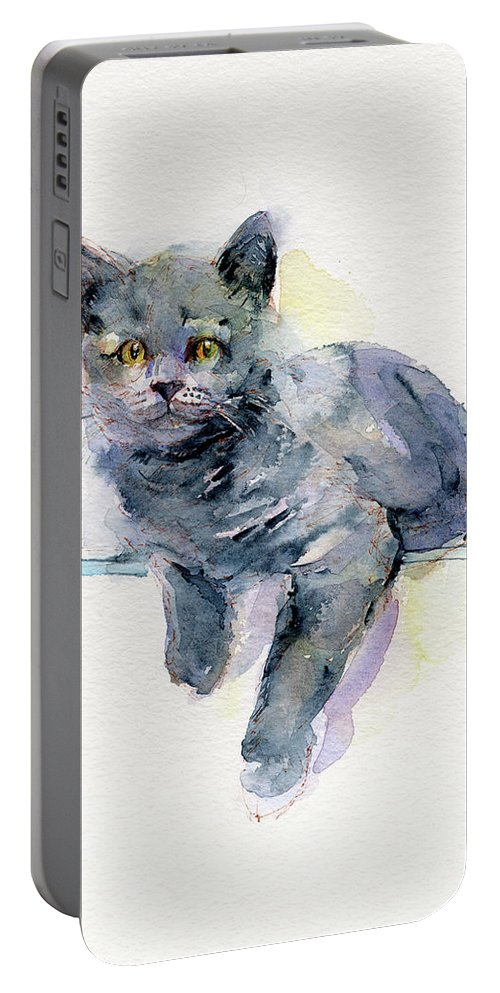 Gray Portable Battery Charger featuring the painting Grey Kitten by John Keeling