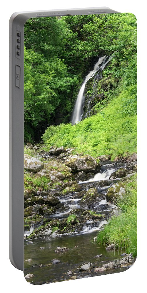 Scotland - Waterfall - Picturesque - Stream - Trees - Landscape Portable Battery Charger featuring the photograph Grey Mares Tail by Chris Horsnell