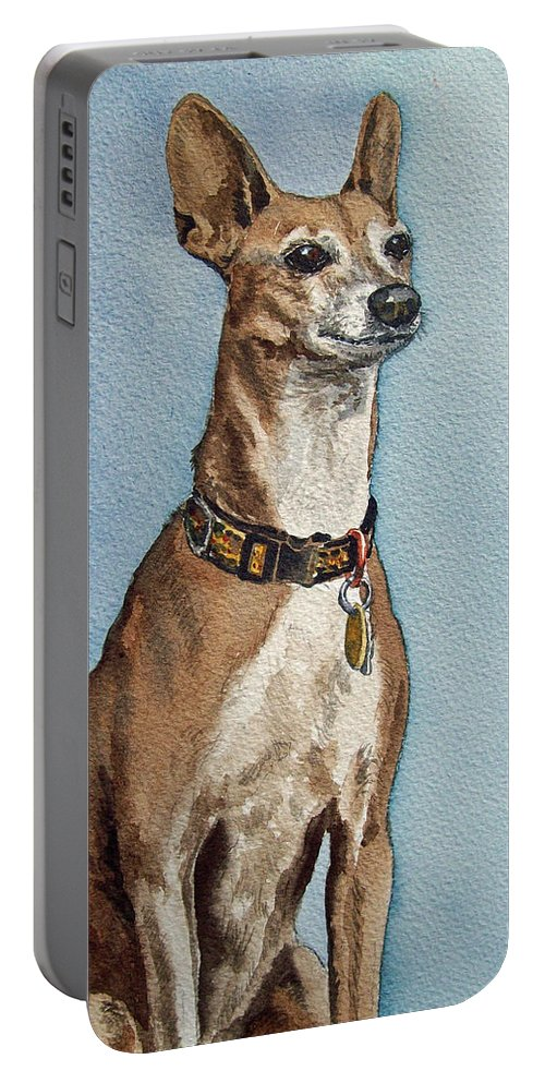 Dog Commission Art Portable Battery Charger featuring the painting Greyhound Commission Painting By Irina Sztukowski by Irina Sztukowski